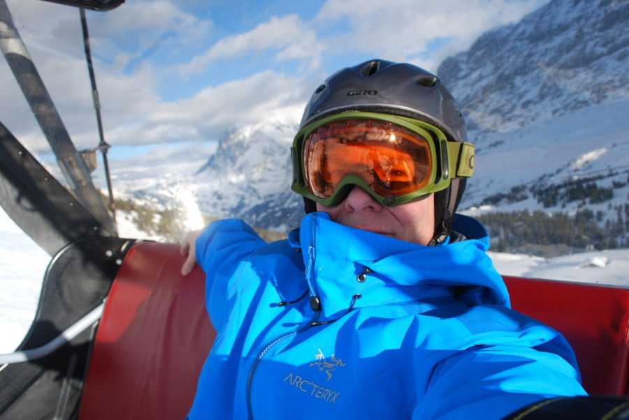 Me on the chairlift in the shadow of the Eiger, Jungfraujoch region, Switzerland.