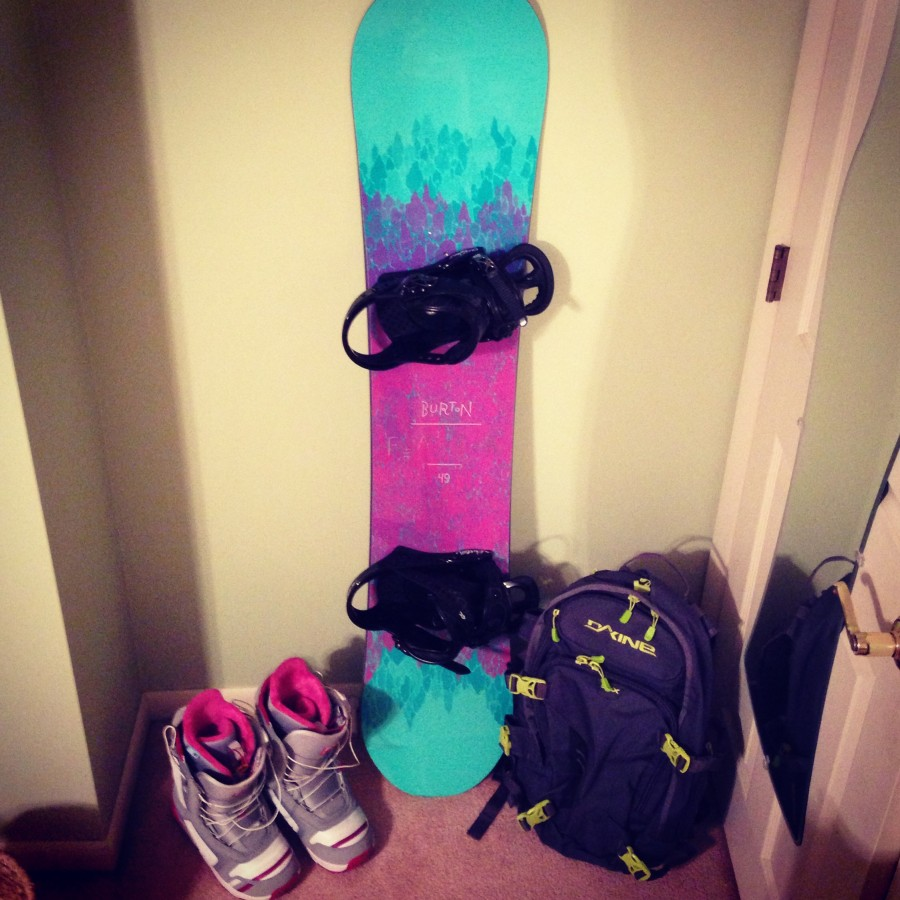 Burton Emerald Boots, Burton Citizen Bindings, Burton Feather Board, and Dakine Heli Pro