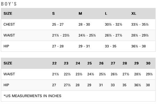 Boys Size Chart Rvca Weekday Pant Steep