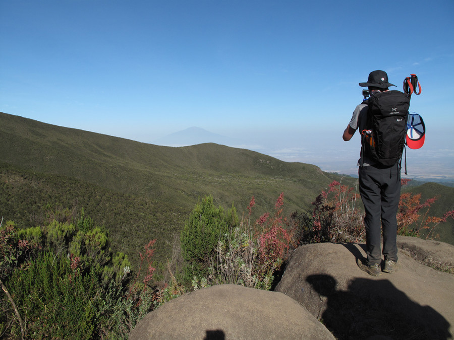 A view of Meru from Lemosho trail