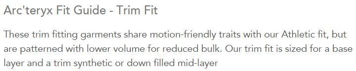 Trim Fit Explanation