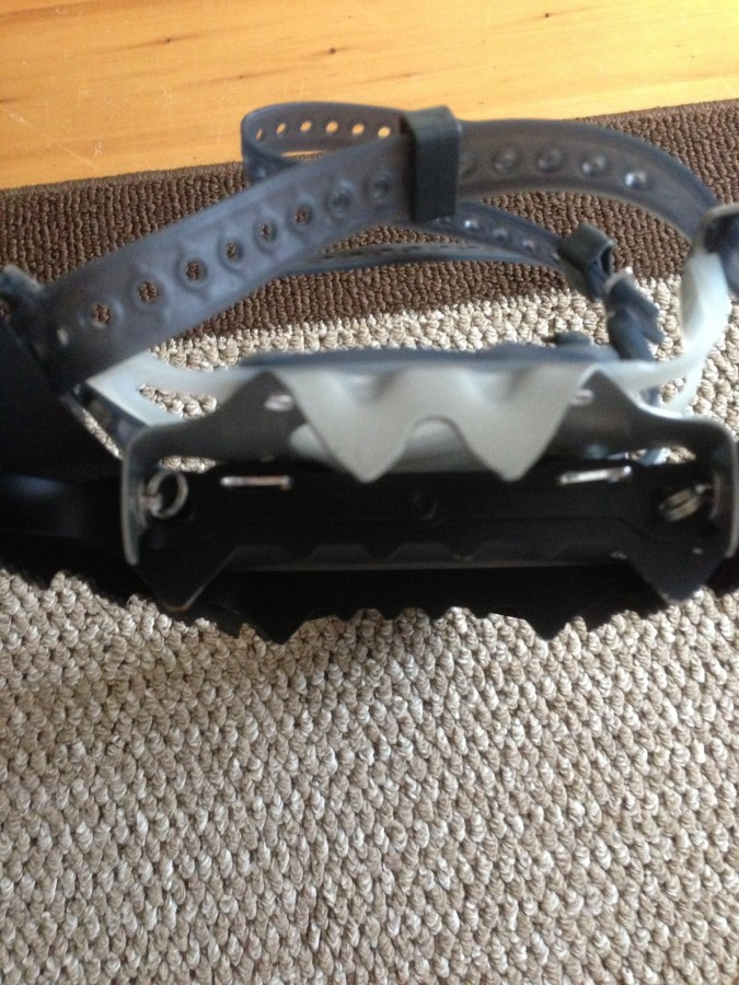 Crampons on the bottom of the snowshoes