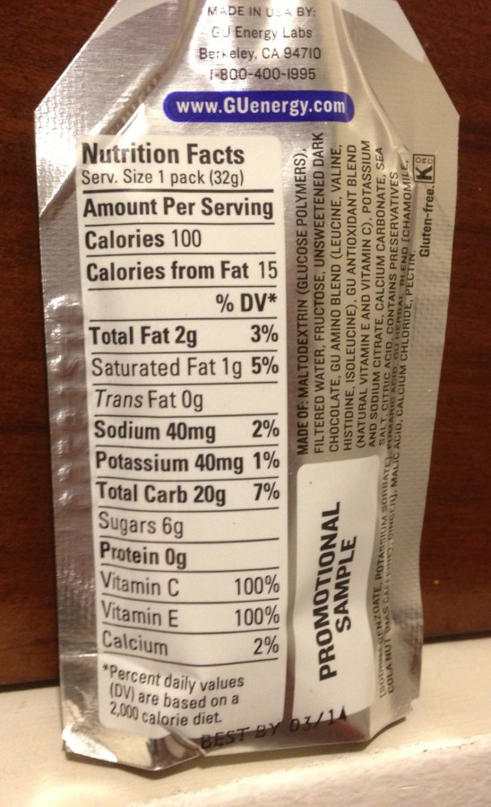 Gu Gel Nutrition Label Besto Blog