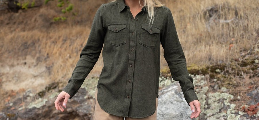 Medium KAVU Womens Hadley Long Sleeve Shirt Mojave Sun